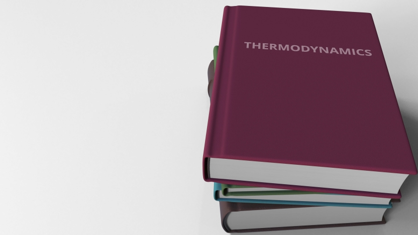 Pile of books on THERMODYNAMICS. 3D rendering