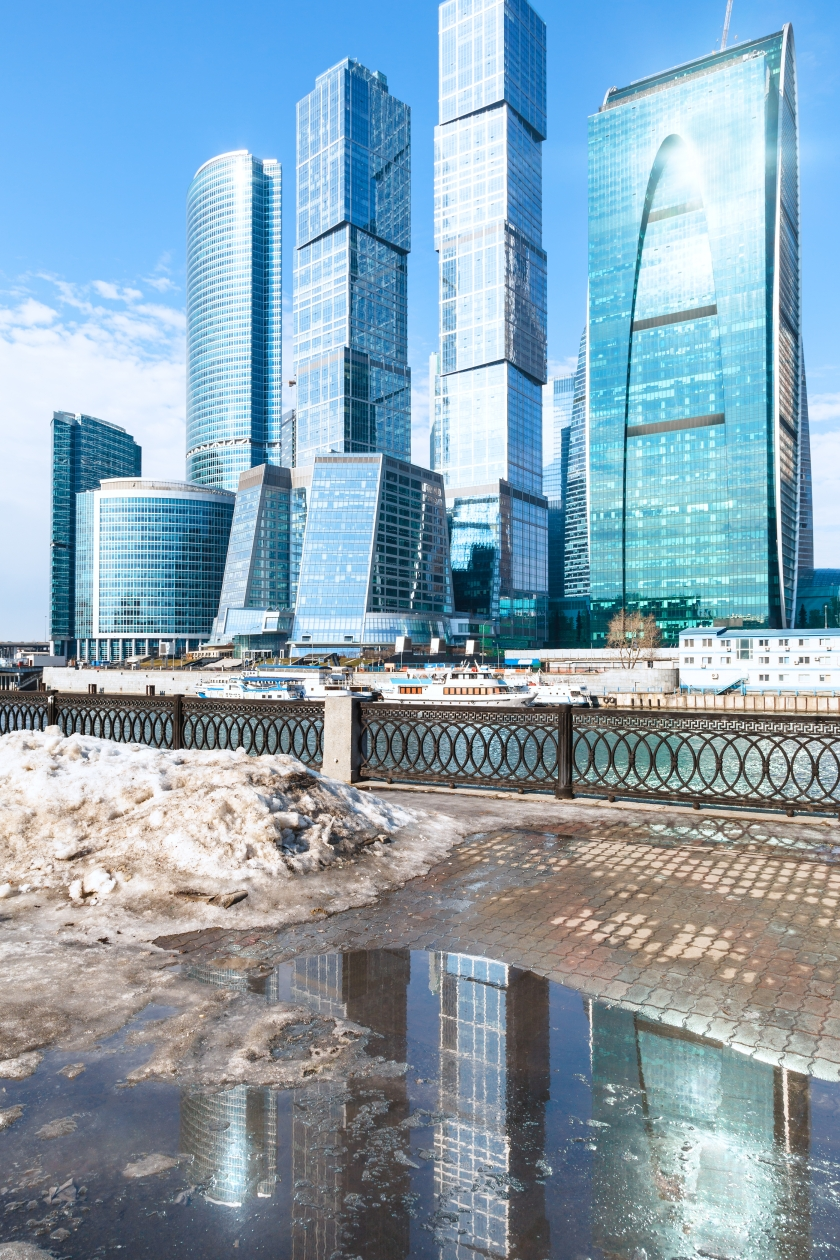 spring urban landscape with view of Moscow City